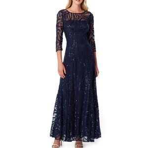 Tahari Embroidered Sequin A-Line Gown Maxi Blue